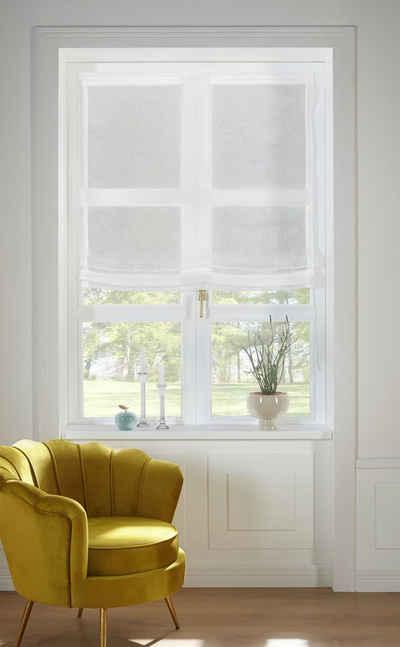 Raffrollo »TENDER«, Guido Maria Kretschmer Home&Living, mit Klettband, transparent, Leinen Optik mit Struktur, monochrom