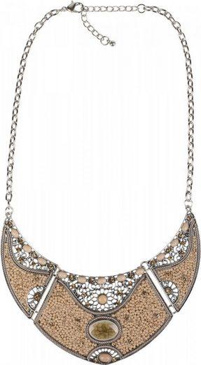 styleBREAKER Statementkette, Statement Halskette mit Perlen und Strass