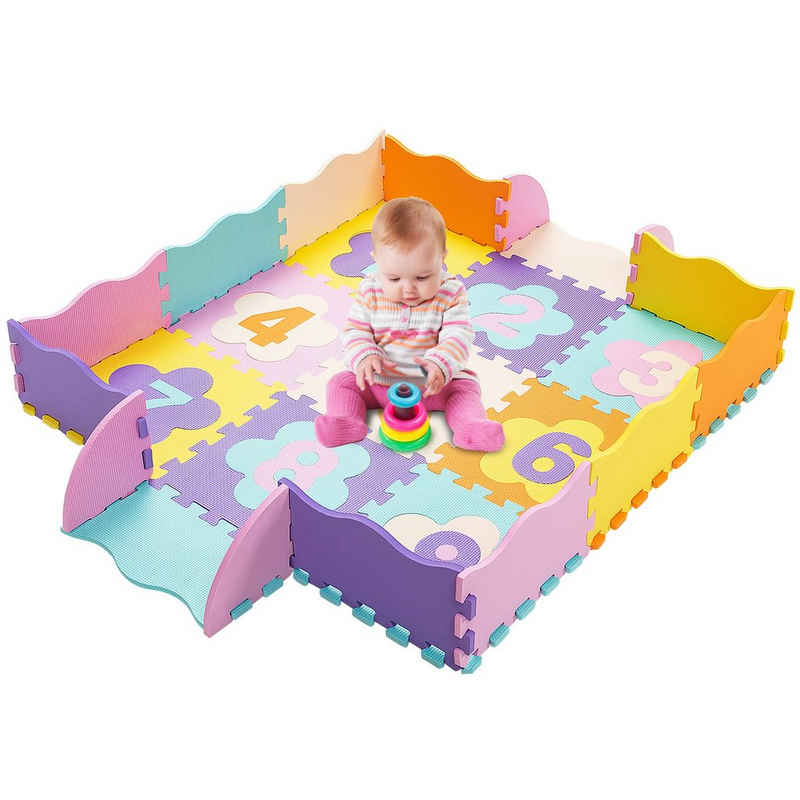 COSTWAY Puzzlematte »Kinder Spielmatte, Krabbelmatte«, Puzzleteile, mit abnehmbaren Zahlen, für Kleinkinder Babys