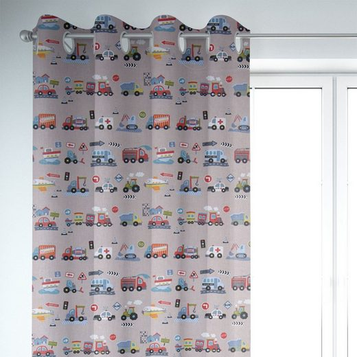 Vorhang »SCHÖNER LEBEN. Vorhang Fahrzeuge Bagger Krankenwagen Auto Zug grau bunt 245cm oder Wunschlänge«, SCHÖNER LEBEN., Ösen (1 Stück)