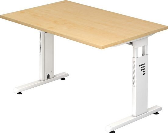 bümö Schreibtisch »OM-OS12-W«, höhenverstellbar - Rechteck: 120x80 cm - Gestell: Weiß, Dekor: Ahorn