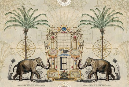 living walls Fototapete »ARTist Nostalgic Elefant«, (Set, 4 St), orientalisch, Vlies, glatt