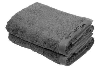 Aymando Handtuch Set »Scheich Kollektion« (Spar Set, 2-tlg), Duschtuch Badetuch luxuriöse Verarbeitung Qualität aus 100% bester ägyptischer premium Baumwolle (GIZA 86) 70x140cm 600 g/m², Grey