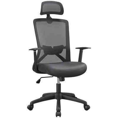 Yaheetech Schreibtischstuhl, Bürostuhl Drehstuhl Ergonomischer Chefstuhl Atmungsaktiver mit hoher Rückenlehne Kopfstütze und Lordosenstütze Wippfunktion