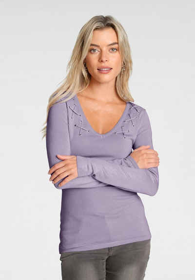 Melrose V-Ausschnitt-Pullover mit Zier-Schnürung - NEUE KOLLEKTION