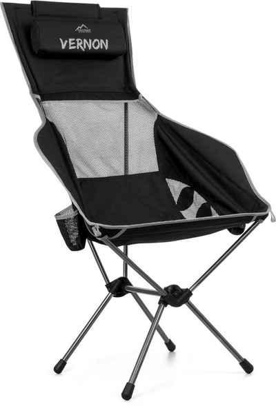 normani Campingstuhl »Campingstuhl Vernon«, Ultraleichter Outdoorstuhl Reisestuhl Anglerstuhl mit hoher Rückenlehne und Armlehnen