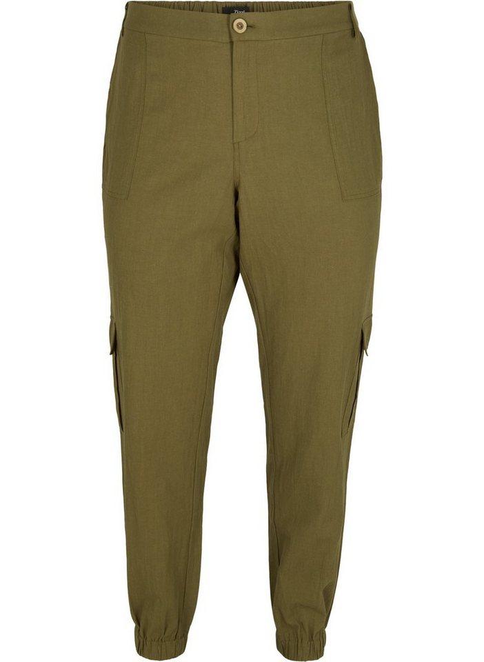 zizzi -  Stoffhose Große Größen Damen Leinen Baumwoll Hose mit lockerer Passform