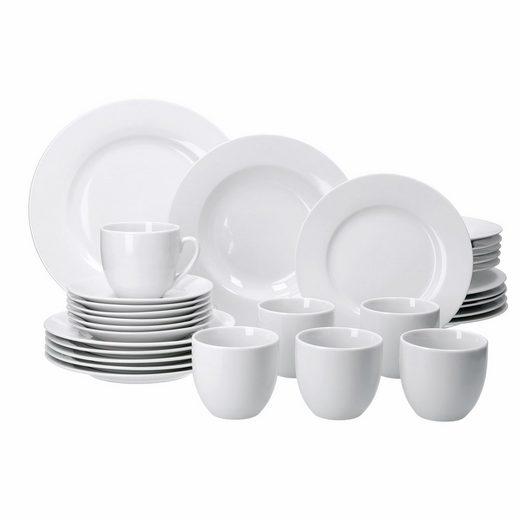 van Well Kombiservice »Kombiservice Trend 30tlg. für 6 Personen, 6 Speiseteller 27cm + 6 Suppenteller + 6 Dessertteller + 6 Kaffeetassen + 6 Untertassen«