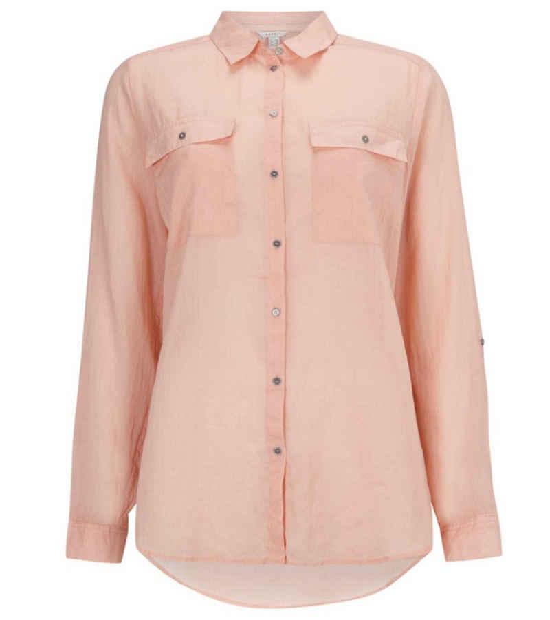 Esprit Hemdbluse »ESPRIT Hemd-Bluse stylische Damen Sommer-Bluse Langarm-Bluse mit Knopfleiste Apricot«