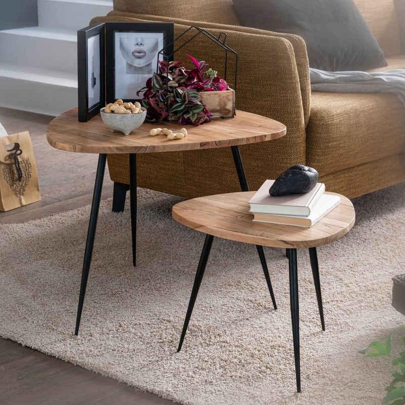 FINEBUY Satztisch »FB54893«, 2er Set Satztisch Akazie Massivholz / Metall Couchtisch Klein Design Beistelltisch Set Zwei Holz-Tische Wohnzimmertisch Tisch Metallgestell