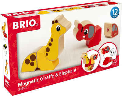 BRIO® Greifspielzeug »Magnet-Tiere, Giraffe und Elefant«, FSC®-Holz aus gewissenhaft bewirtschafteten Wäldern