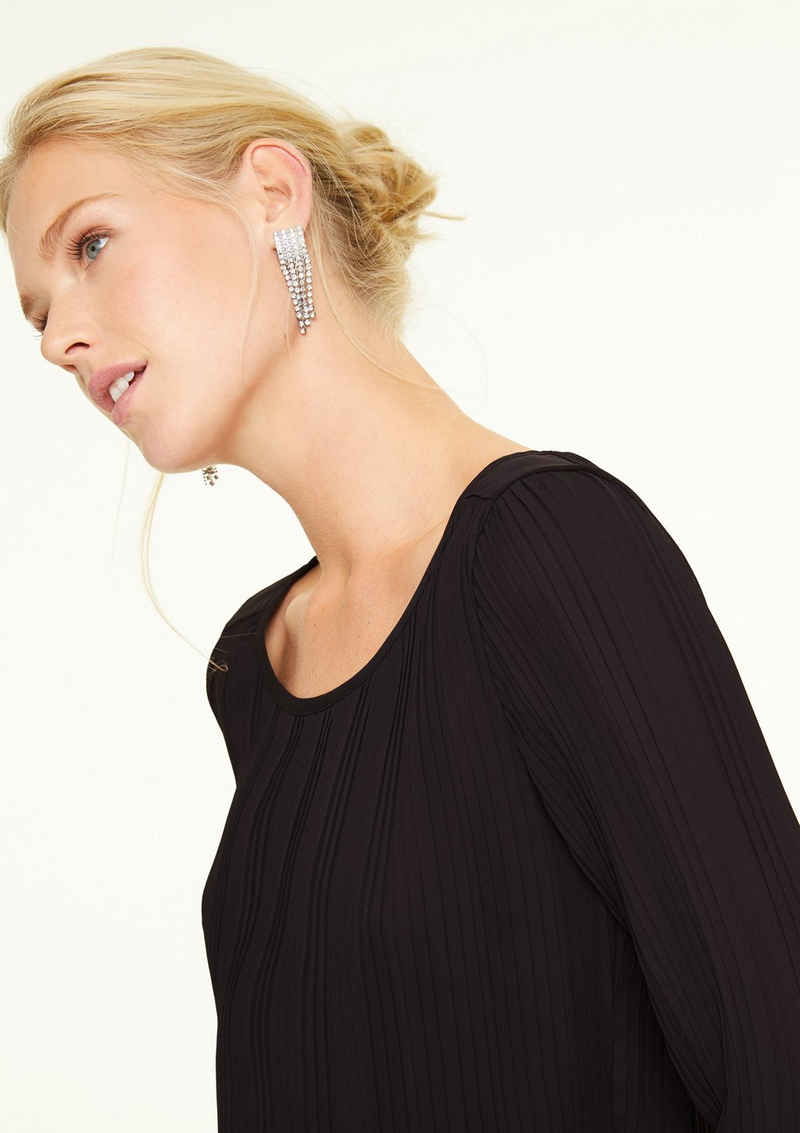Comma Langarmbluse »Bluse mit Plisseefalten« Kontrast-Details, Blende