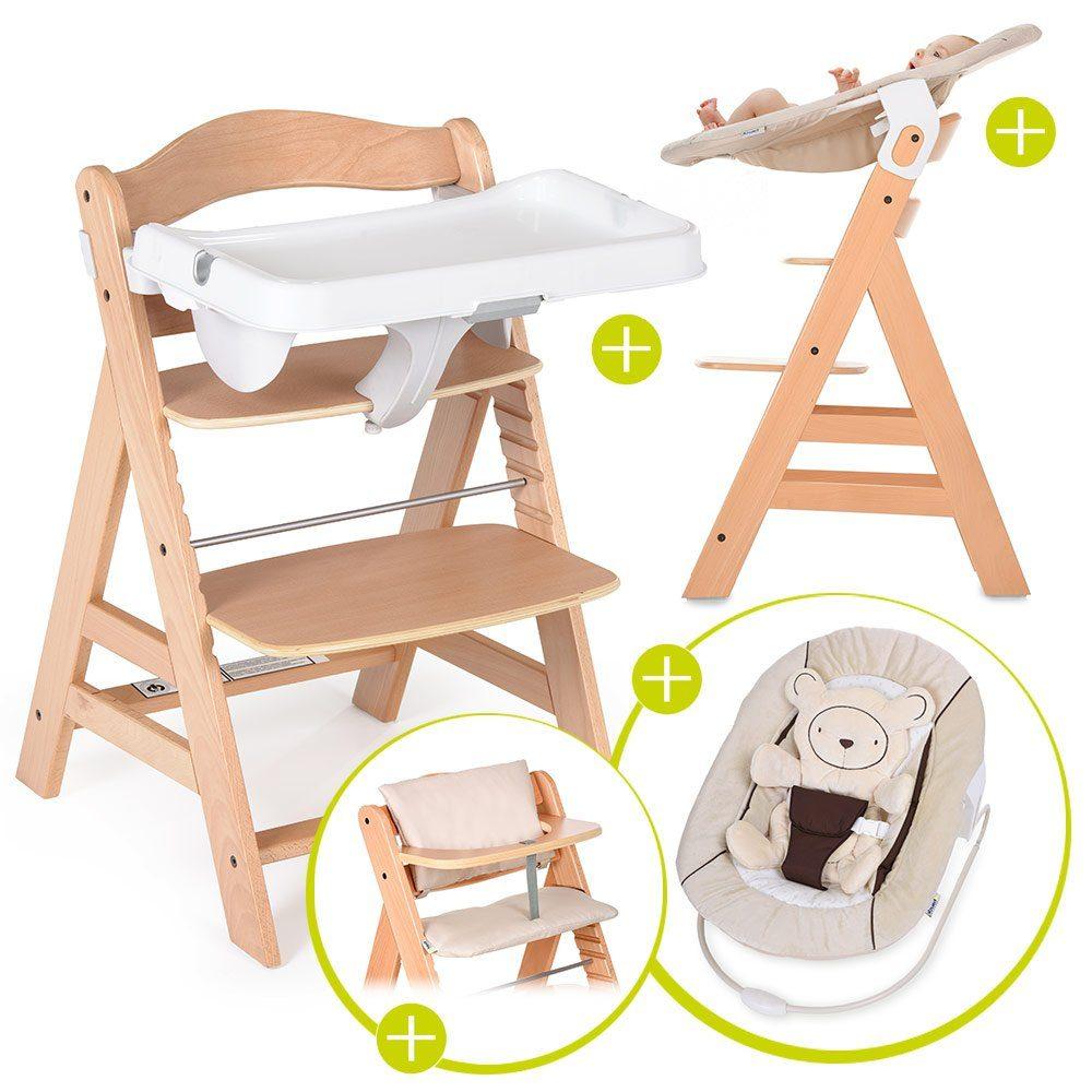 Hauck Hochstuhl »Alpha Plus Natur Newborn Set« Holz Hochstuhl ab Geburt + Neugeboreneneinsatz & Wippe + Alpha Tray + Sitzpolster online kaufen |