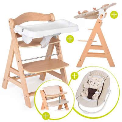 Hauck Hochstuhl »Alpha Plus Natur - Newborn Set« (5 Stück), Holz Hochstuhl ab Geburt + Neugeboreneneinsatz & Wippe + Alpha Tray + Sitzpolster