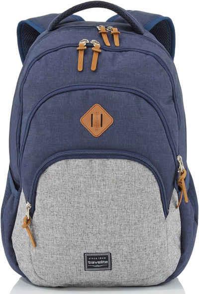 travelite Schulrucksack »Basics Melange, marine/grau«, mit Laptopfach