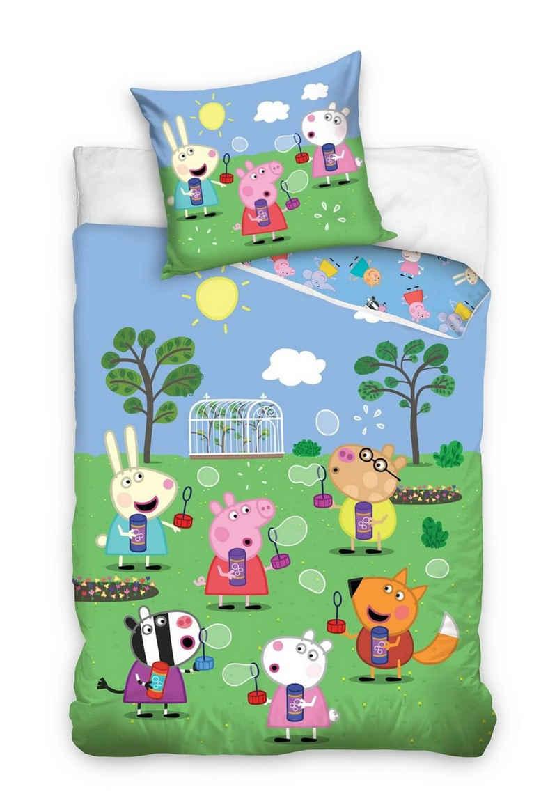 Kinderbettwäsche »Peppa Wutz - Kinder-Bettwäsche-Set, 135x200 & 80x80 cm - Peppa Pig«, Peppa Pig, 100% Baumwolle
