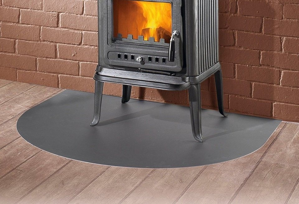 Stahlbodenplatte »Segmentbogen«, 100 x 120 cm,schwarz, zum Funkenschutz, für Kaminöfen in schwarz
