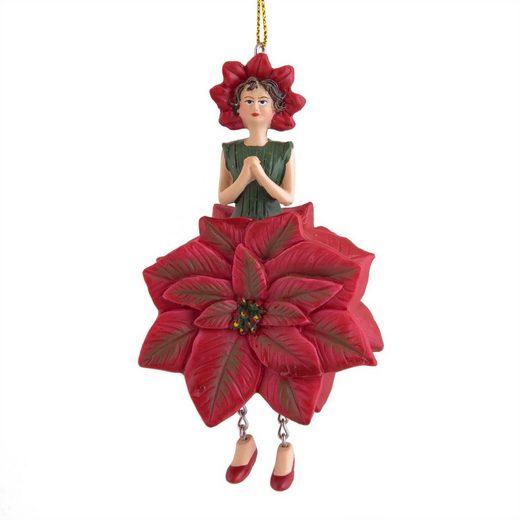 ROSEMARIE SCHULZ Heidelberg Dekofigur »Weihnachtsstern zum Hängen Dekohänger Blumen Deko-Objekt«, Handbemalte Figur aus Polyresin