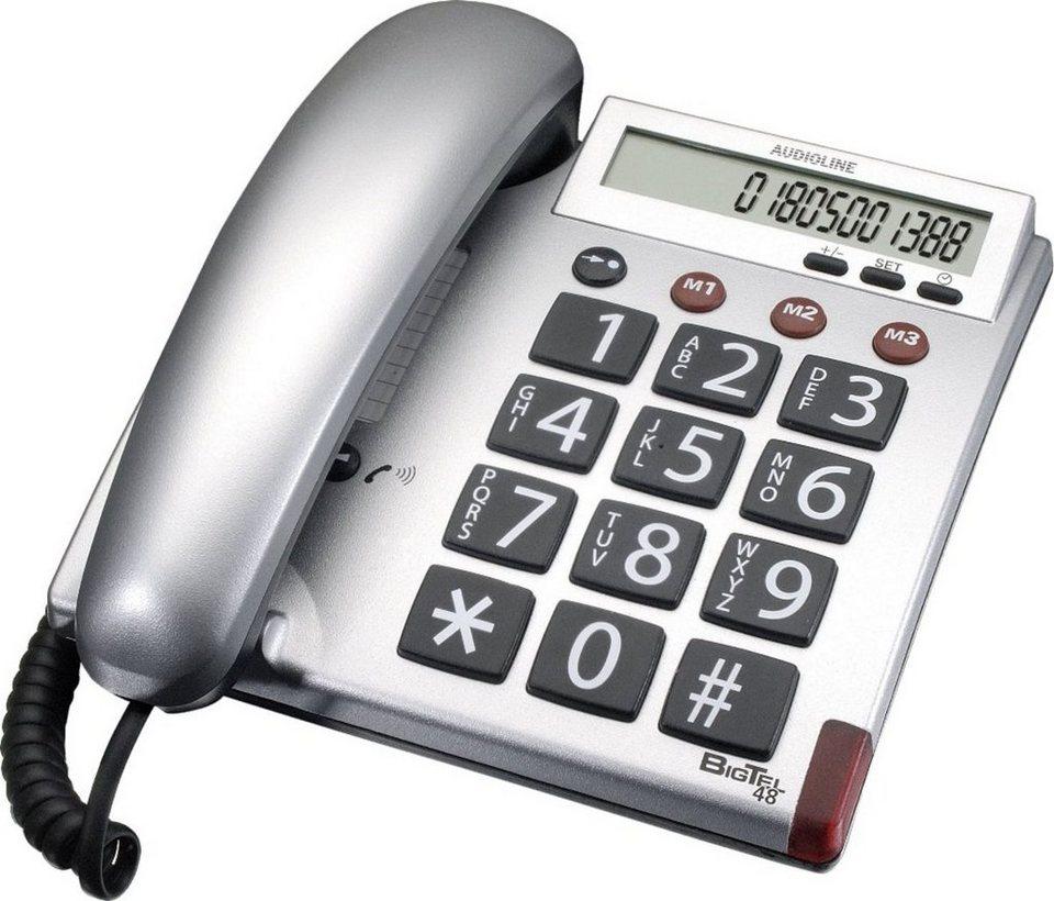 Audioline Telefon analog schnurgebunden »BIGTEL 48 silber« in Silber