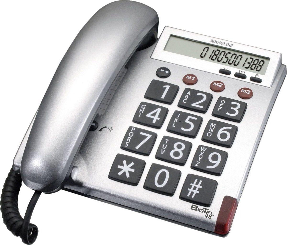 Audioline Telefon analog schnurgebunden »BIGTEL 48 silber«