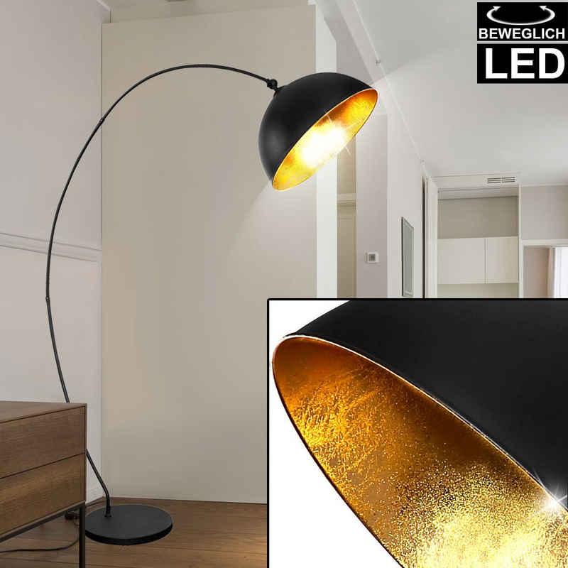 etc-shop LED Bogenlampe, Steh Bogen Leuchte Blatt Gold Wohn Zimmer Stand Lampe verstellbar im Set inkl. LED Leuchtmittel