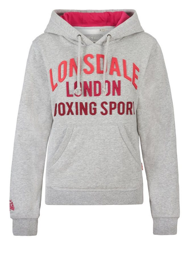Lonsdale Kapuzenpullover in Marl Grey