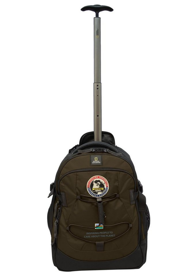 National Geographic, Trolley-Rucksack mit Laptopfach und 2 Rollen, »Explorer« in khaki