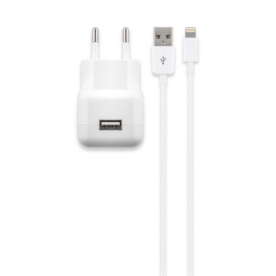 Cabstone Apple Lightning Connector-Kabel »mit 2,1 A USB Netzteil« in weiß