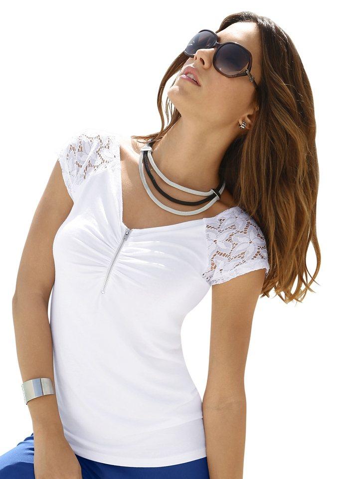 Création L Shirt mit aparter Raffung in weiß
