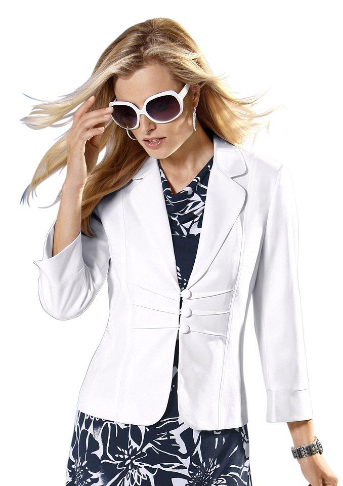 Lady Blazer mit abgerundetem Reverskragen in weiß
