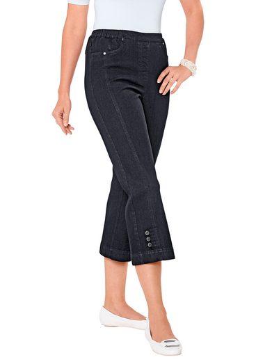 Classic Basics 7/8-Jeans mit Dekoschlaufen und Zierknöpfe am Beinabschluss