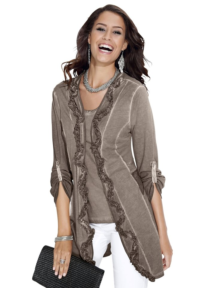 Création L Shirtjacke mit Kompliment-Garantie in taupe