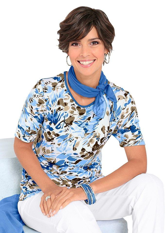 Shirt in blau-bedruckt