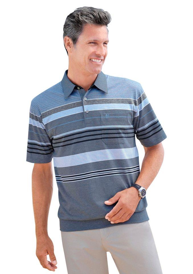 Hajo Poloshirt in »stay fresh«-Qualität in jeansblau-gestreift