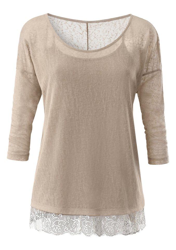 Création L Shirt-Set aus modischem Flammgarn in beige