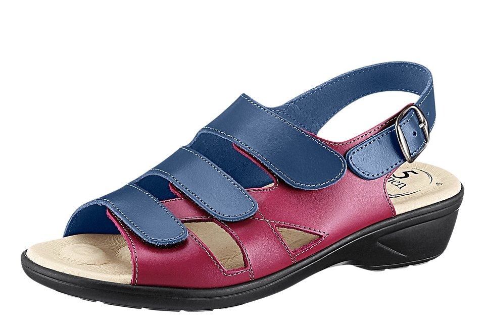 Sandalette in marine-fuchsia