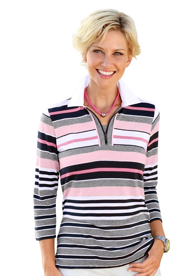 Collection L. Poloshirt in rosé-grau-gestreift