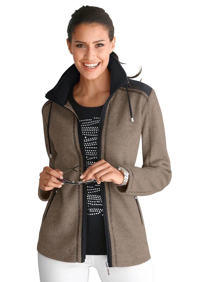 Collection L. Fleece-Jacke in herrlich flauschiger Qualität in beige-schwarz