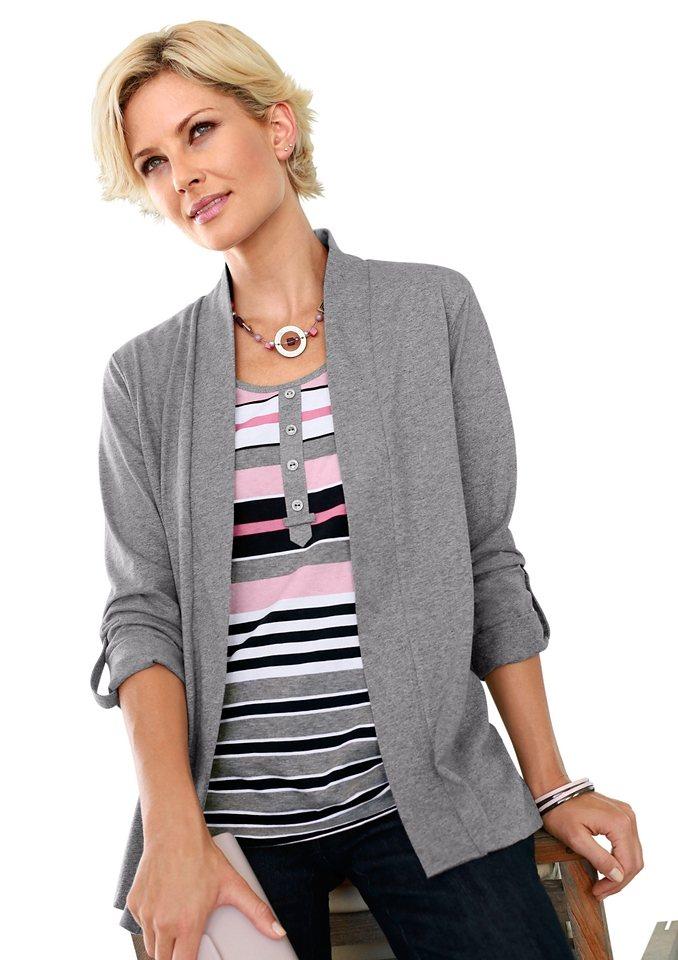 Collection L. 2-in-1-Shirt mit gestreiftem Einsatz in rosé-grau-gestreift