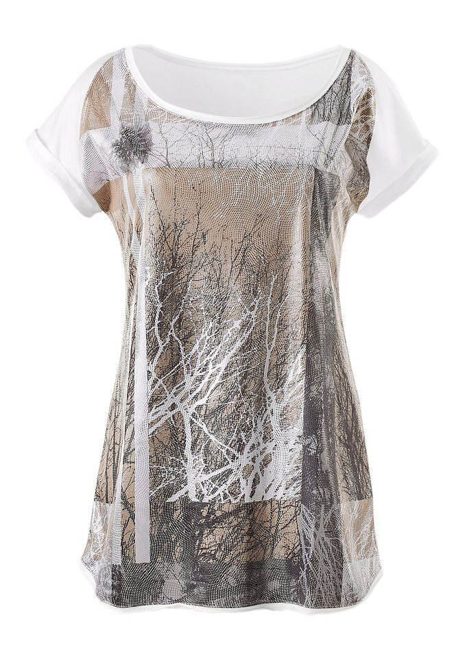 Création L Shirt mit Rundhals-Ausschnitt in ecru-bedruckt