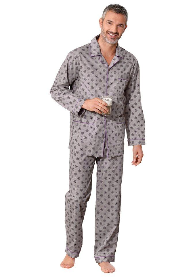 Schlafanzug, Kings Club in grau-bedruckt