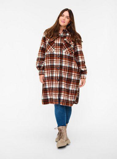 Zizzi Langjacke Große Größen Damen Karierte Jacke mit Kragen und Knöpfen