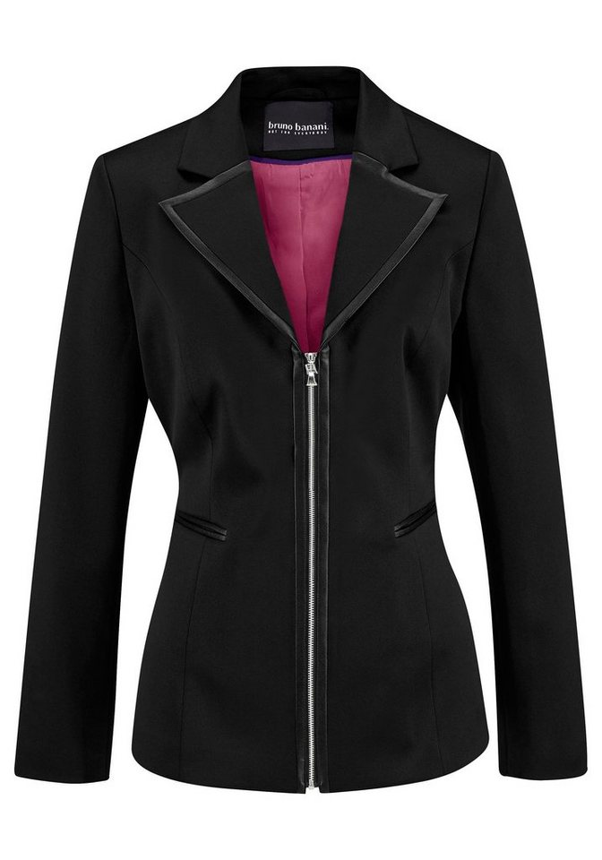 Bruno Banani Blazer mit Piping aus Lederimitat in schwarz