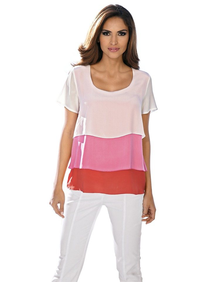Chiffonbluse in koralle/pink