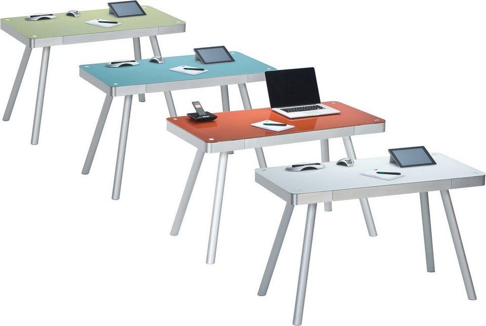 Maja Möbel Schreibtisch »Aue« in Metall Alu - Weißglas