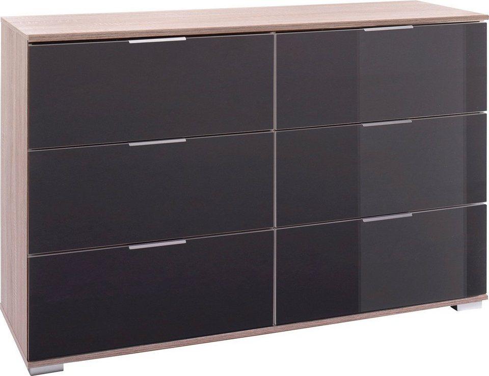Wimex Schubkastenkommode in struktureichefarben hell/Grauglas