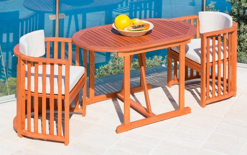 5-tgl. Gartenmöbelset »Brasilia«, 2 Sessel, Tisch 120x70 cm, Eukalyptusholz, inkl. Auflagen in braun
