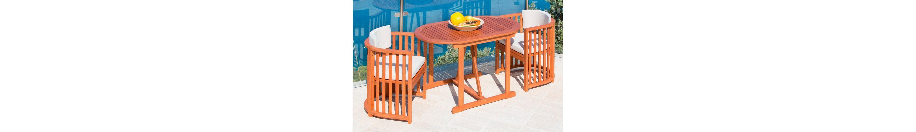 7-tgl. Gartenmöbelset »Brasilia«, 2 Sessel, Tisch 120x70 cm, Eukalyptusholz