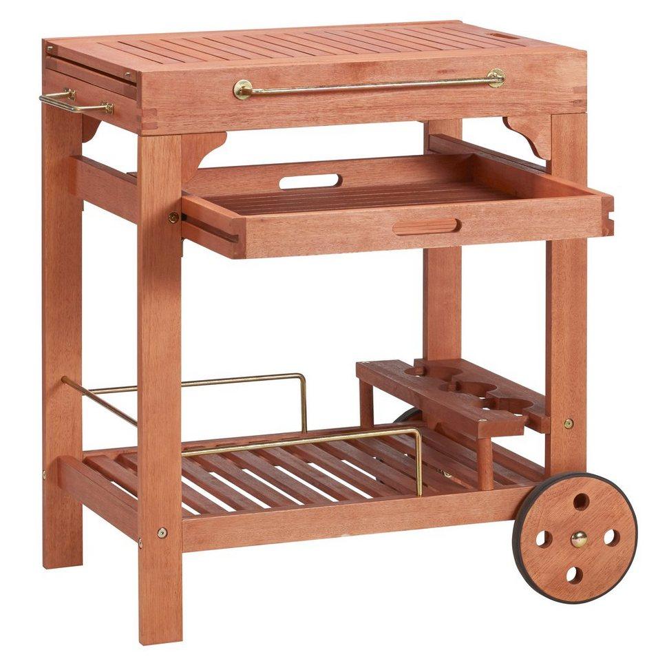 servierwagen multifunktion eukalyptusholz ausziehbar. Black Bedroom Furniture Sets. Home Design Ideas