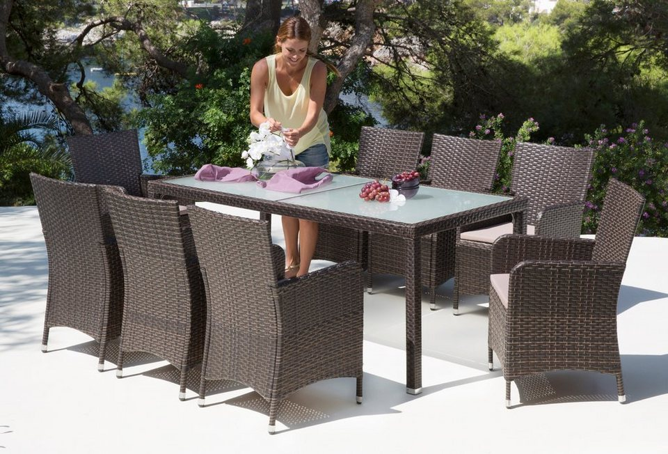 gartenm belset san remo 17 tlg 8 sessel tisch 185x90 cm polyrattan braun online kaufen. Black Bedroom Furniture Sets. Home Design Ideas